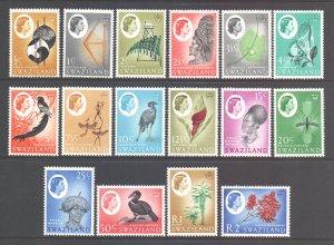 Swaziland Scott 92/107 - SG90/105, 1962 Elizabeth II Set MH*