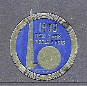 USA New York World's Fair 1939/40 Cinderella Trylon & Perisphere Round in Blue