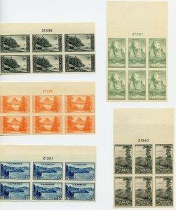 US SCOTT #756-765, All Tops Plate Blocks-XF-NH (DFP)