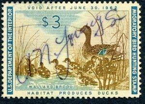 #RW28 – 1961 $3.00 Mallard Hen. Used.
