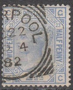 Great Britain #82 Plate 23  F-VF Used CV $32.50 (A16196)