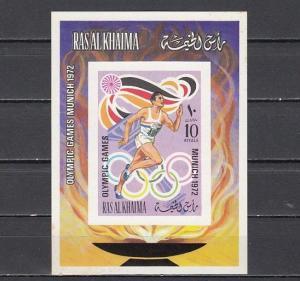 Ras Al Khaima, Mi cat. 655, BL116 B. Summer Olympics IMPERF s/sheet.