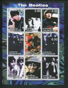Tajikistan Commemorative Souvenir Stamp Sheet - Rock Band The Beatles