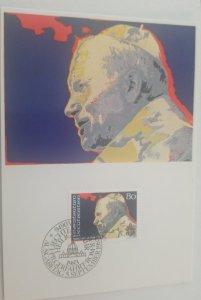 O) 1983 LIECHTENSTEIN, POPE JOHN PAUL II, MAXIMUM CARD, XF