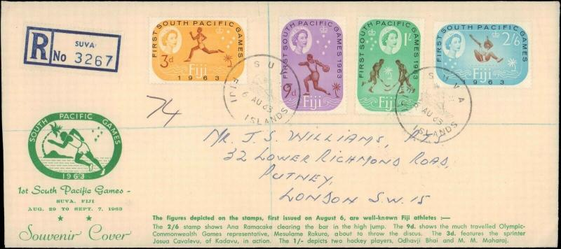 1963 FIJI FIRST DAY COVER WITH CACHET FOR SOUTH PACIFIC GAMES