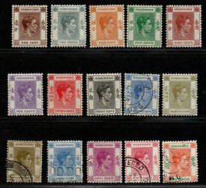 $Hong Kong Sc#154//166A used-Mint/LH, part set, Cv. $29.05