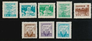 Korea Sc 190-194, 212D-212F, MLH. 1953-56 issues, 2 complete sets, 2 w toned gum