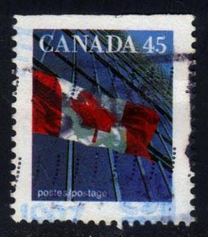 Canada #1361 Flag and Building; Used (0.25)