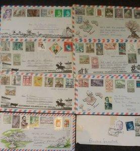 Spain 1970 -1980 7 Recuerdo Filatelico de Espana Airmail Covers + Cutout Stamps