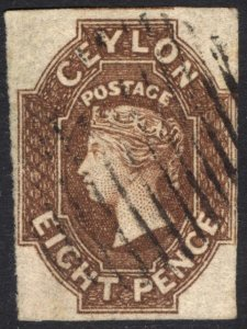 Ceylon 1859 8d Brown, Imperf, 4 Margin, SG 7, Scott 8, VFU, Cat £1,500($1,980)