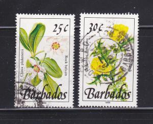 Barbados 757-758 U Flowers (A)