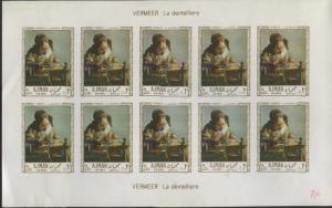 Lot of 2 Ajman UAE Souvenir Air Mail Stamp Sheets with Control # Durer & Vermeer