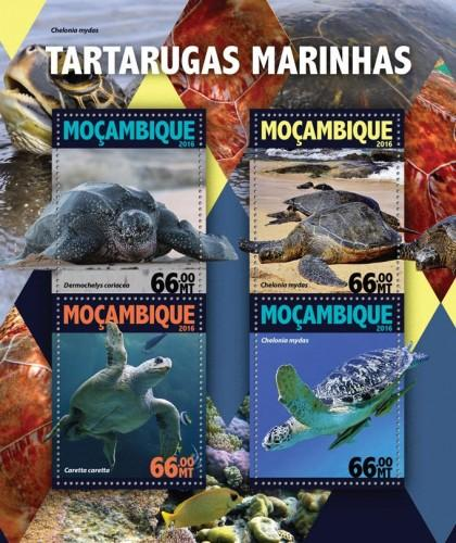MOZAMBIQUE - 2016 - Sea Turtles - Perf 4v Sheet - MNH