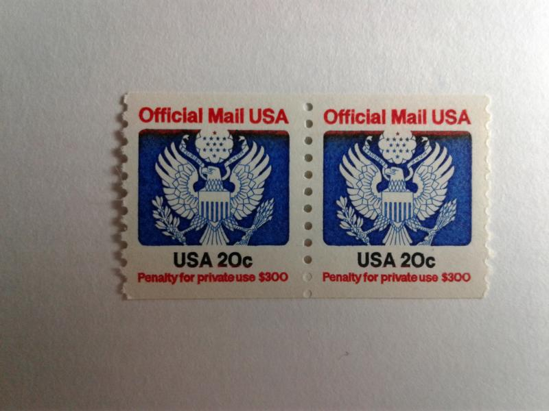 SCOTT # O135  35 CENT PAIR COIL OFFICIAL MAIL USA MINT NEVER HINGED