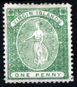 VIRGIN ISLANDS Queen Victoria 1868 1d. Green White Paper Perf. 15 SG 8 MNG