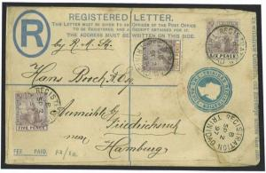 W427 1897 TRINIDAD B.C. P/stat. Regd. Uprated/GERMANY Hamburg