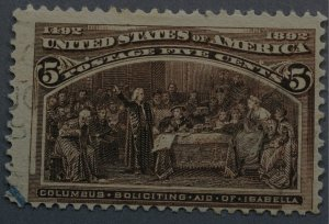 United States #234 5 Cent Columbian Very Light Cancel, Bit of Blue Used