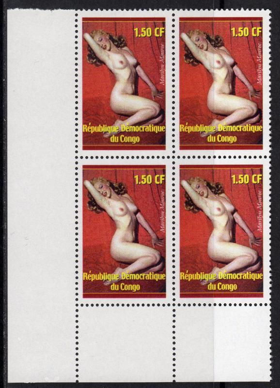 Congo P.D.R. 2001 Marilyn Monroe Block of 4 perforated MNH