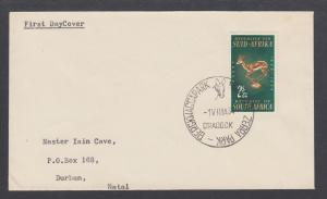 South Africa Sc 301 2½c Rugby Emblem on 1964 cover,  MOUNTAIN ZEBRA PARK cancel