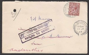 GB SCOTLAND 1923 cover Anstruther to Leven - Returned to Sender.............Q864