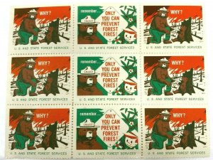 Vintage mid-century Smokey Bear cinderella stamps seals full small sheet