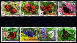 Isle of Man --2011- WWF-Butterflies MNH sets  # 1426-1433