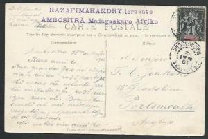 MADAGASCAR 1912 postcard ex AMBOSITRA to UK................................61925