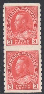 Canada #130a VF Mint LH Vertical Imperforate Pair