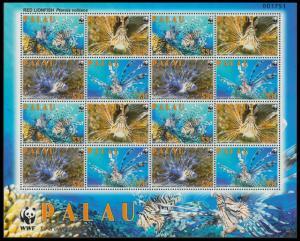Palau WWF Red Lionfish Sheetlet of 4 sets MI#2902-2905 SC#992