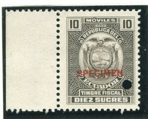 ECUADOR; Early 1900s Fiscal Revenue issue fine MINT SPECIMEN issue