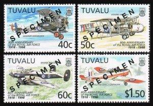 Tuvalu 763-766 SPECIMEN,MNH.Michel 793-796. Royal Air Force,80,1998.