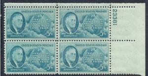 US#933 Roosevelt   5c Plate  Block of 4 (MNH) CV $1.00