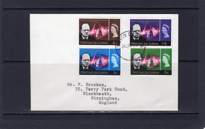 Tristan da Cunha 1966 Sc#89/92 CHURCHILL MEMORIAL ISSUE Set (4) FDC