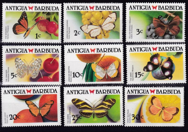 Antigua 1988 Butterflies Complete (19) VF/NH(**)  Post Office Fresh