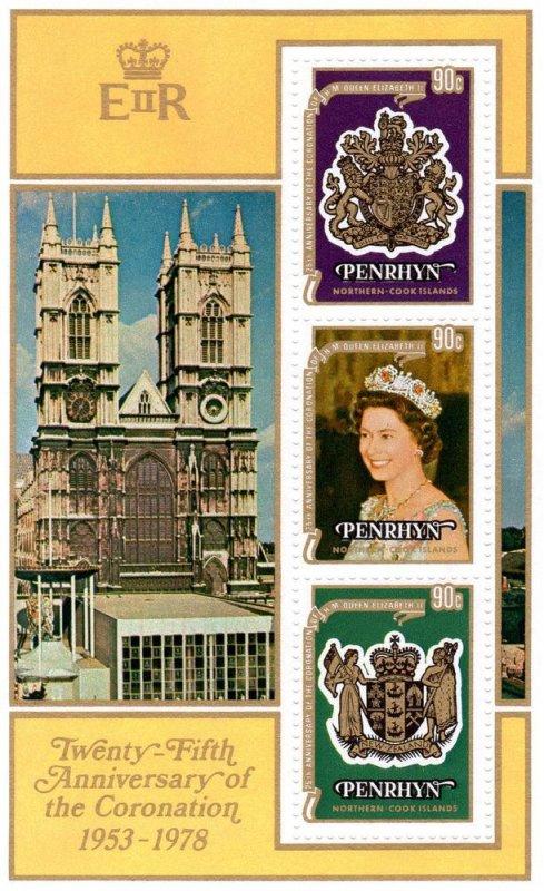Penrhyn Island MNH S/S 104d Queen Elizabeth II 25th Ann. Of Coronation 1977