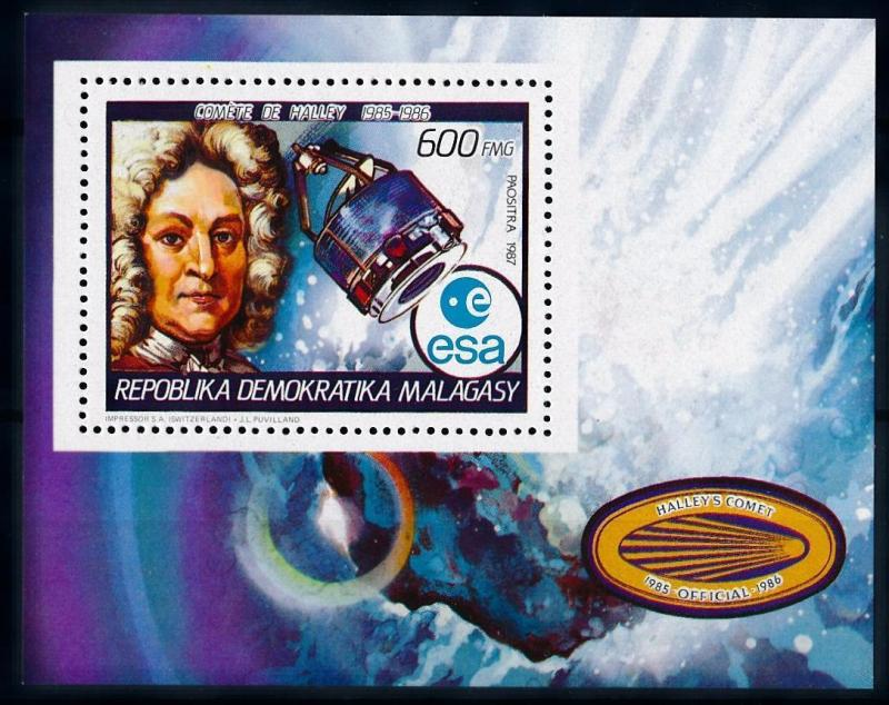 [64456] Madagascar 1987 Space Travel Weltraum Halley Comet Souvenir Sheet MNH