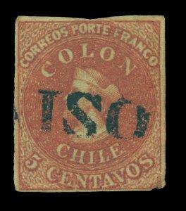 CHILE 1853 COLUMBUS  5c brown red  wmk FA5-2(R) Sc# 1 VALPARAISO linear cancel