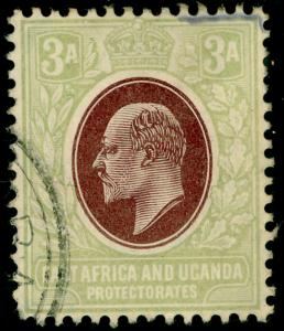 EAST AFRICA and UGANDA SG22, 3a brown-purple & grn, USED. Cat £45. WMK MULT CA.