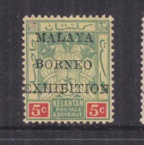 KELANTAN, 1922 Malaya Borneo Exhibition, 5c. Green & Red on Yellow, mint no gum.