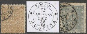 TURKEY 1892 Sc 97-98  1pi,2pi  Scarce Used, HUDEIDA Yemen postmarks cancels