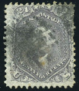 Scott #70d Rare Pale Gray Violet shade. Scott $3,250.00. w/2021 PSAG certificate