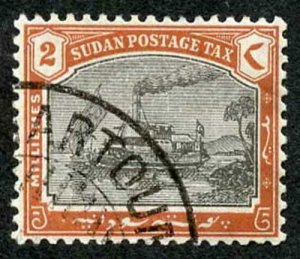 Sudan Post Dues SGD5a 1901 2m Black and Brown Wmk UPRIGHT CDS used