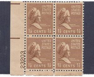 United States, 805, Martha Washington Plate Block of 4, #23203, LL, MNH