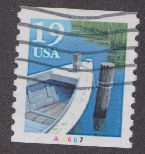 US #2529a Row Boat Used PNC Single plate #A6667