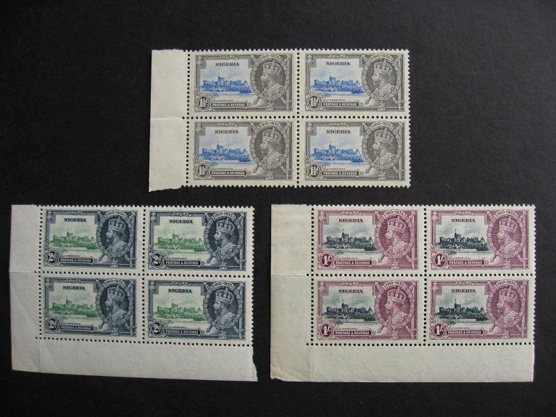 1935 Silver Jubilee Nigeria Sc 34, 35, 37 3 MNH blocks of 4 check them out!