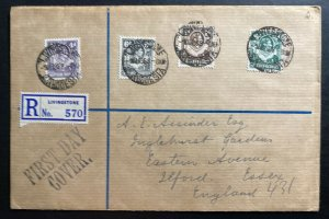 1938 Livingston Northern Rhodesia First Day Cover FDC To Ilford England