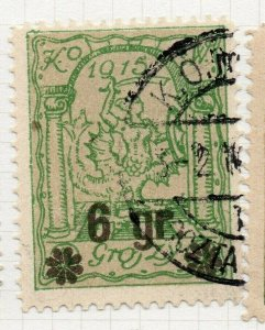 Poland Warsaw 1916 Early Issue Fine Used 6gr. Surcharged Postmark NW-14442