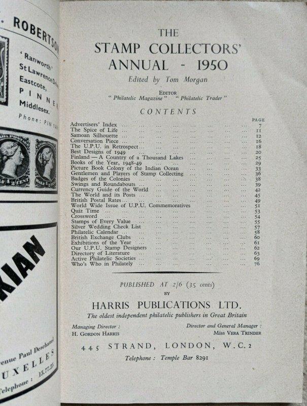 STAMP COLLECTORS' ANNUAL 1950 Classic philatelic-literature