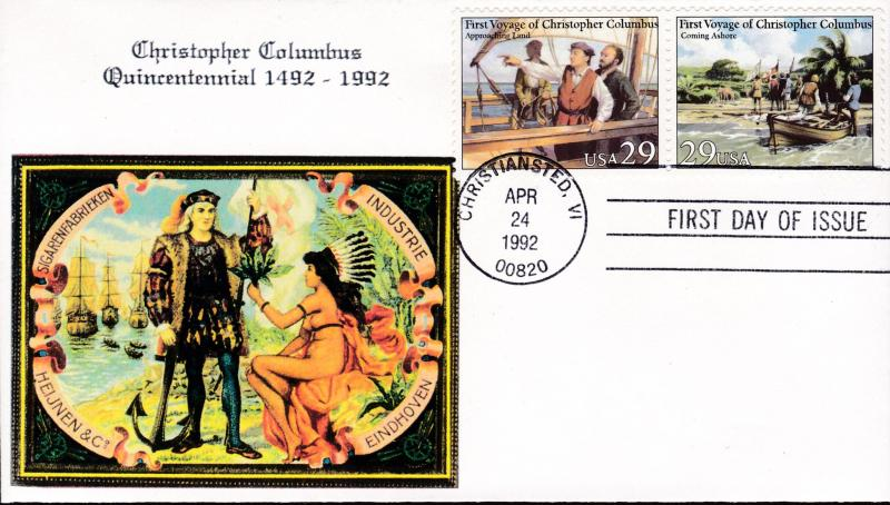 U.S.1992 TWO First Day Covers Color Cigar Box Label Cachet Voyage of Columbus VF