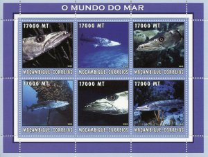Mozambique 2002 MNH Fish 6v M/S Fishes Marine Stamps